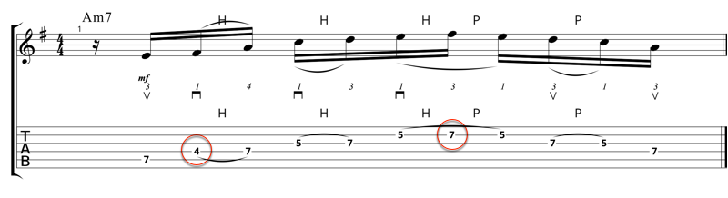 Lick 2 - A Dorian Pentatonic b7 interval moved back to major 6th